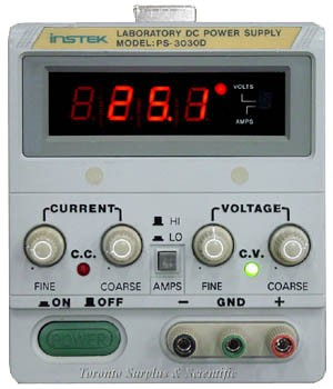 a 30V, 3A GW Instek Laboratory DC Power Supply PS-3030D (GPS-3030D), 0-30 VDC, 0-3 Amps