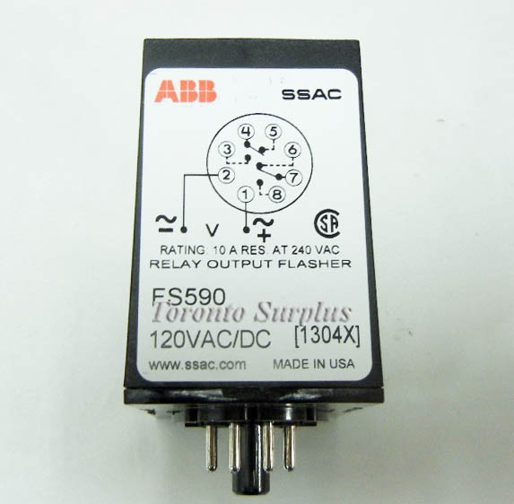 ABB SSAC FS590 Solid State Time Delay Flasher Relay 120 VACDC
