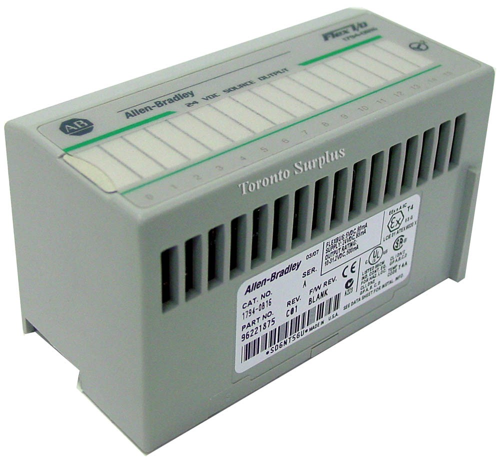 Allen Bradley 1794-0B16 / 17940B16 / 1794-0B16/A / 96221875 Ser. A Flex I/O 24 VDC Source Output Module