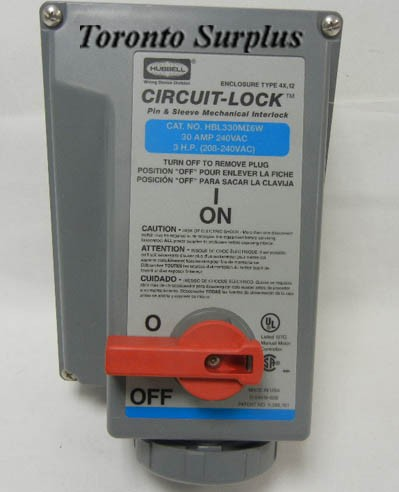 Hubbell HBL330MI6W Circuit-Lock, 240 VAC, 30 Amp, 3 H P  3