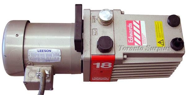 Edwards 18 E2M-18 / E2M18 Direct Drive, Sliding Vane, Single Stage Rotary Vacuum Pump with Leeson C6T17FC1B / 1-10047-00 / 11004700 Motor - 3/4HP, 1724RPM, 3PH
