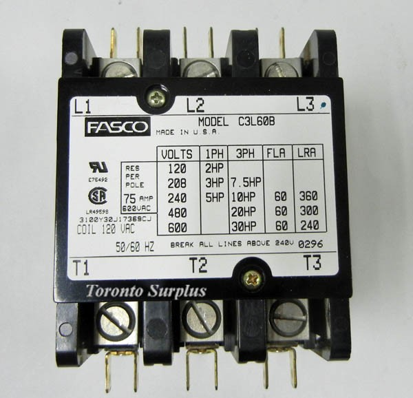 file_34_6 fasco c3l60b magnetic contactor, definite purpose, 3 pole, 120 vac Cutler Hammer Contactors at mifinder.co