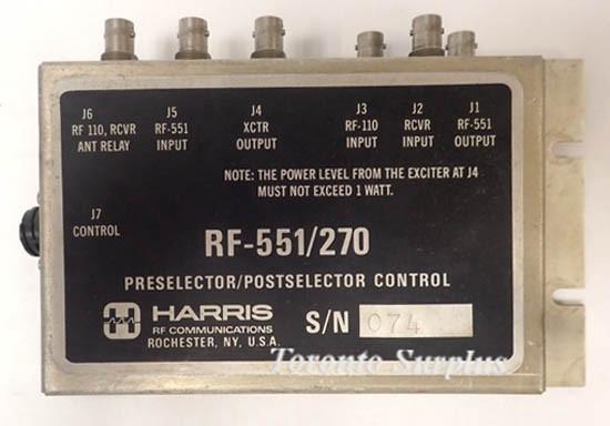 Harris RF-551/270 Preselector / Postselector Control