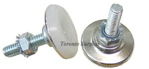 Spaenaur 112-106 Adjustable Leveling Foot / Leveling Glide, Metal with White Plastic Base & Lock Nut