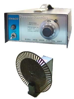 """DL Instruments / Ithaco 383B Motor Speed Controller and 383A Light Beam Chopper 9"""" diameter"""