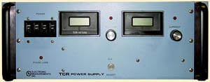 a  10V, 250A Electronic Measurements EMI TCR 10T250 Power Supply w Overvoltage Protection, 0-10 VDC, 0-250 Amp, 3 Ph