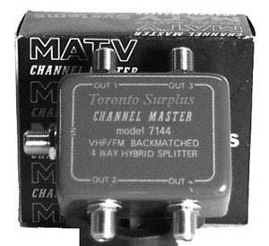 Channel Master 7144 - VHF/FM 4 Way Splitter - AUDIO/VISUAL