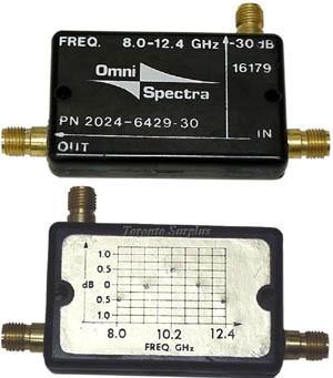 OmniSpectra 2024-6429-30 Directional Coupler, 8.0-12.4 GHz, 30 dB