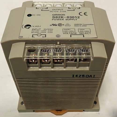 a  12V,   2.5A Omron S82K-03012 PLC Power Supply 100-240VAC OUT, 12VDC, 2.5A