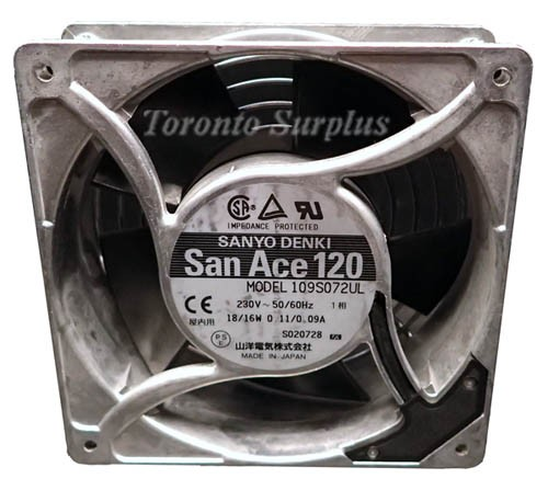 Sanyo DenkI 109S072UL San Ace 120 Cooling Fan - 230V, 50/60Hz
