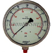 """Wika 233.30 6"""" Dial, LF Case, Dual Scale 0-200 PSI/0-1400 KPA, Wetted 316 SST, 1/4"""" NPT Gauge BRAND NEW / NOS rm"""