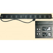 Tectol TE-102M Industrial Grade Heavy Duty Power Bar - 20 x 220V Outlets, 2 Fuses per Outlet