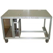 "Heavy Duty Aluminium Table, Open Extruded Frame with 1/2"" Thick Anodized Aluminium Machined Top"